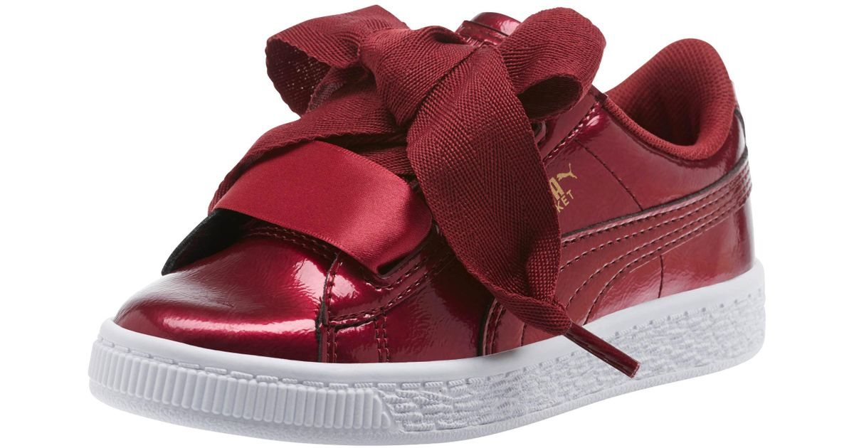 pretty nice 952ca e285b PUMA - Red Basket Heart Glam Preschool Sneakers - Lyst