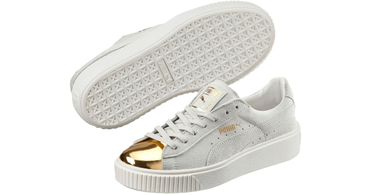 dcee3e707989 Lyst - PUMA Suede Platform Gold Women s Sneakers in White