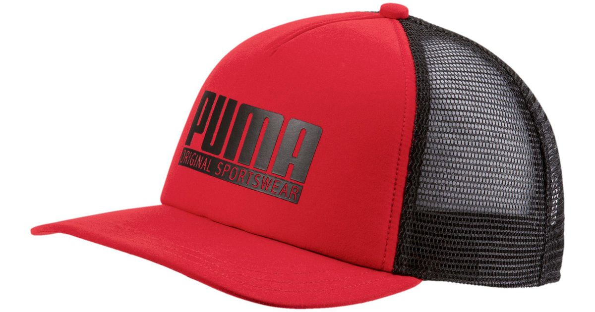 9ff25048bbc10 ... czech lyst puma style trucker hat in red for men af76e b60dc