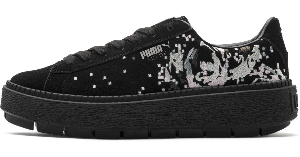 78809cd5a8d6 Lyst - PUMA Suede Platform Digital Embroidery Women s Sneakers in Black