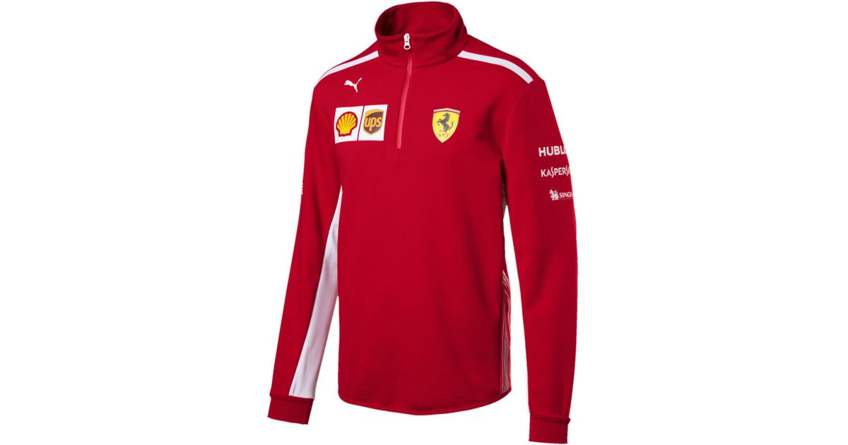 404e144152ba Lyst - PUMA Ferrari Men s Team Half Zip Fleece in Red for Men