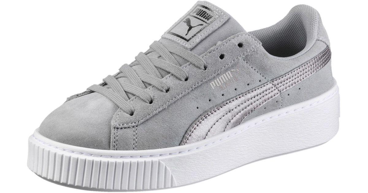 b0f00166a6bace Lyst - PUMA Suede Platform Metallic Safari Women s Sneakers in Gray