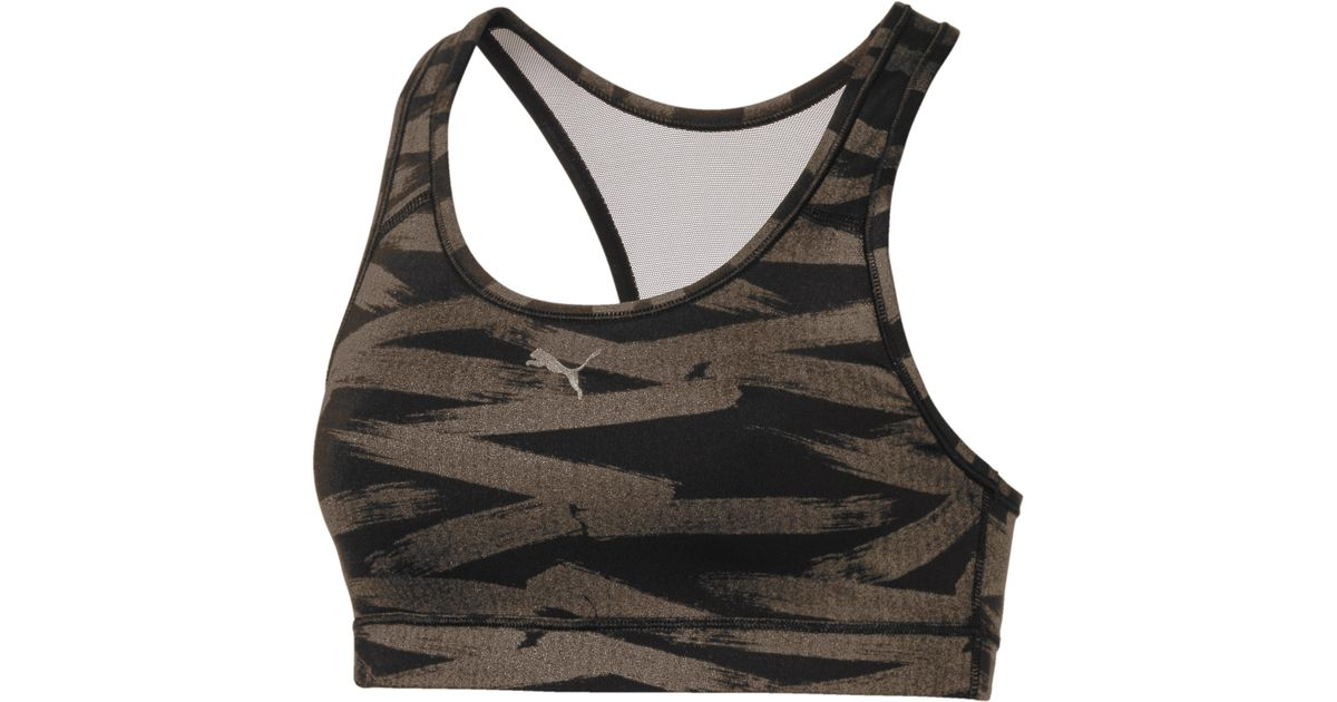 441275ba02 Lyst - PUMA 4keeps Mid Impact Graphic Women s Bra Top in Black