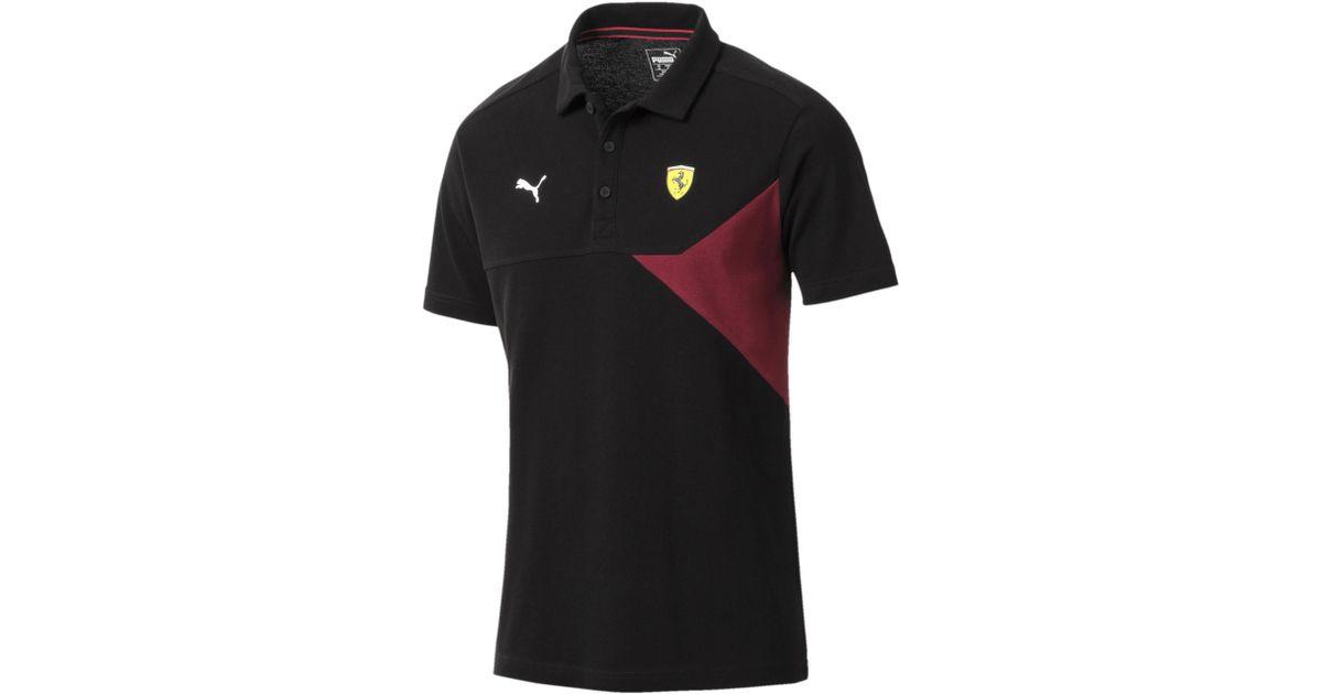 2050200118 PUMA - Black Ferrari Colorblocked Polo for Men - Lyst