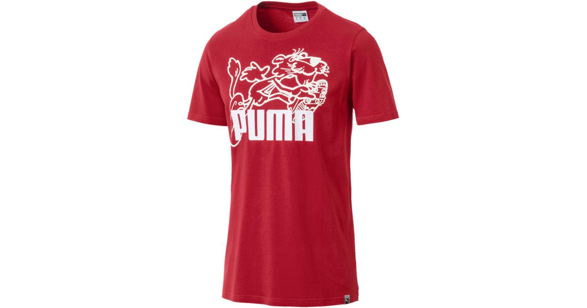8e31d8187a PUMA - Red Graphic Retro Sports T-shirt for Men - Lyst