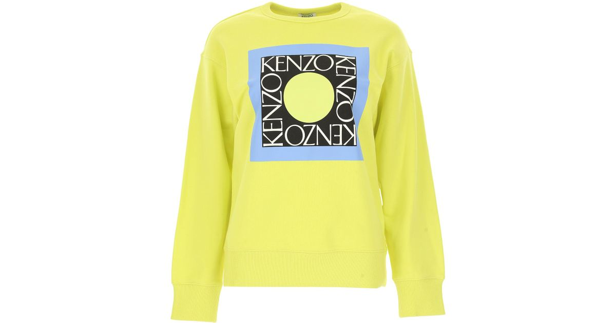 bedd393d Lyst - KENZO Logo Printed Sweater in Yellow - Save 23%