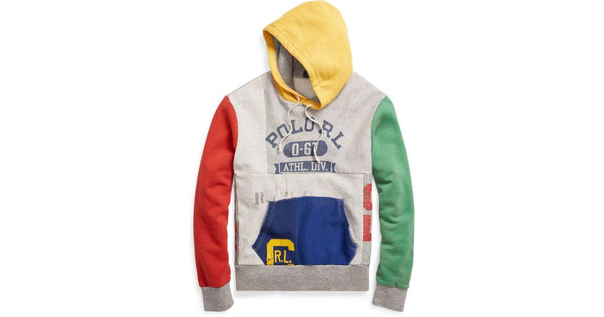 64eb30f00628 ... australia lyst polo ralph lauren patchwork cotton blend hoodie for men  711fc 916d3