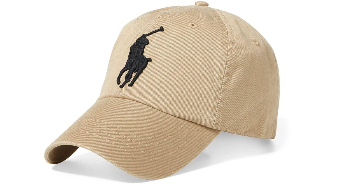 6c4849fffb1d Polo Ralph Lauren Mens Big Pony Chino Baseball Cap in Natural for Men - Lyst