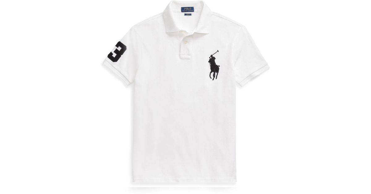 3ad1aa0f 50 Off Ralph Lauren Shirt Slim Fit White Horse 5cf9a 2dceb. Black Polo  Shirt With Red Stripes At ...