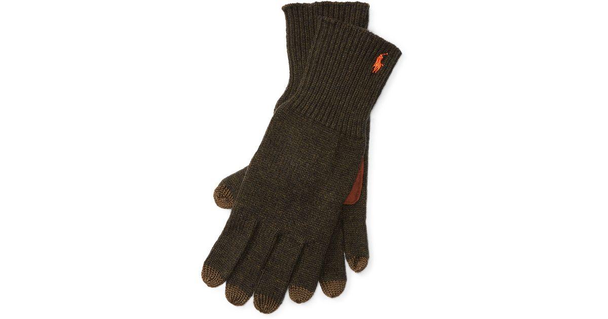 f710bc6b45b Lyst - Polo Ralph Lauren Merino Wool Touch Gloves in Green for Men
