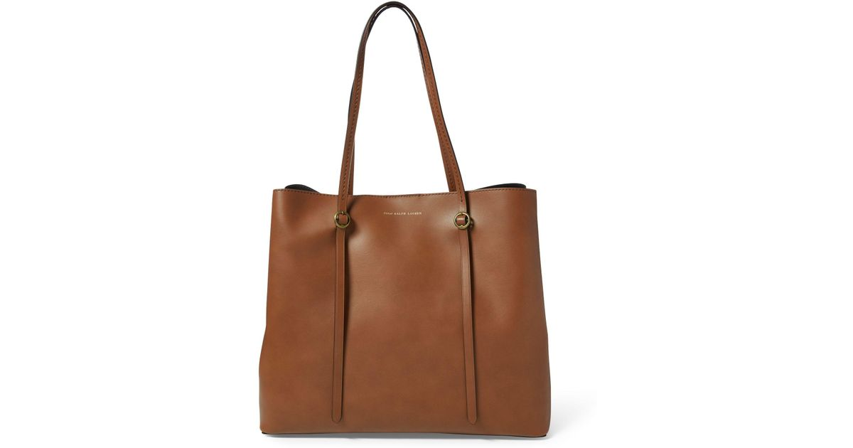 6fed03cabc6 Polo Ralph Lauren Leather Lennox Tote in Brown - Lyst