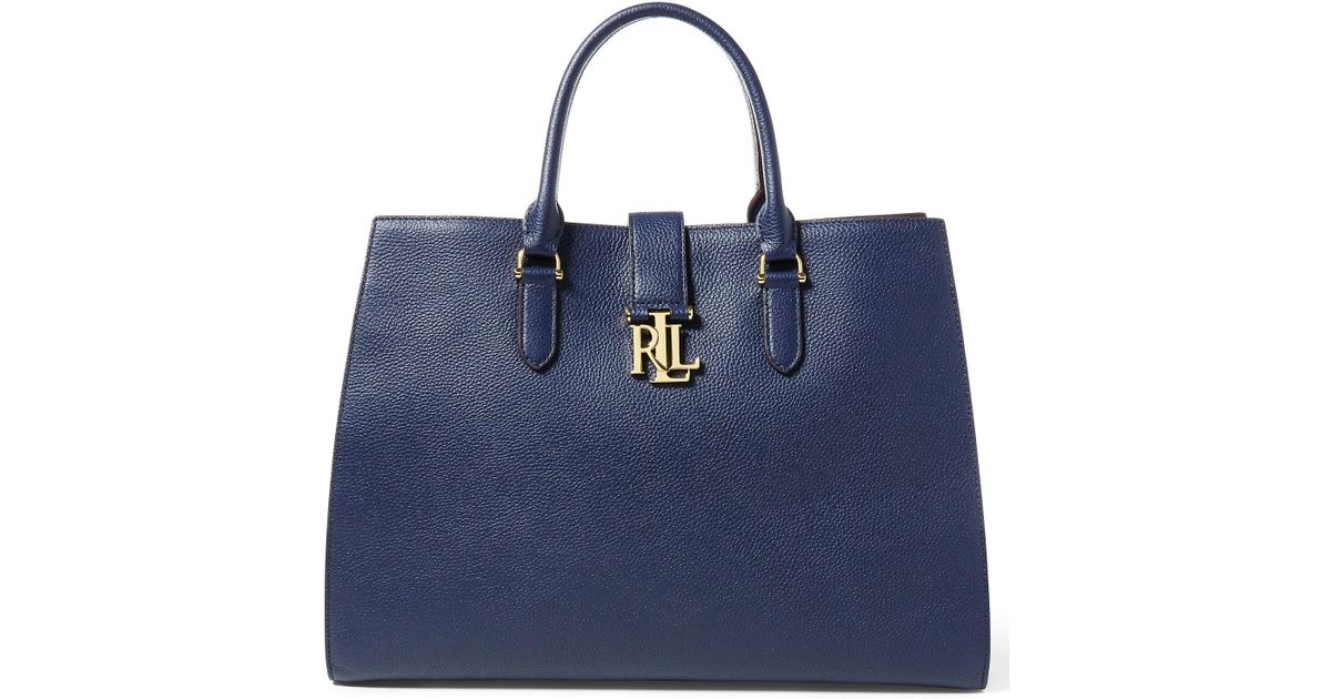 0dfa96ba6f47 Lyst - Ralph Lauren Pebbled Leather Brigitte Tote in Blue