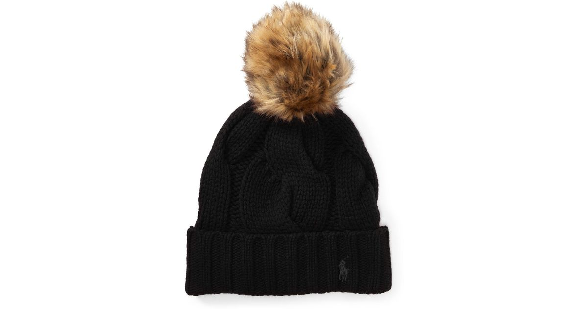 74f455c9e1e Polo Ralph Lauren Rope Cable-knit Hat in Black - Lyst