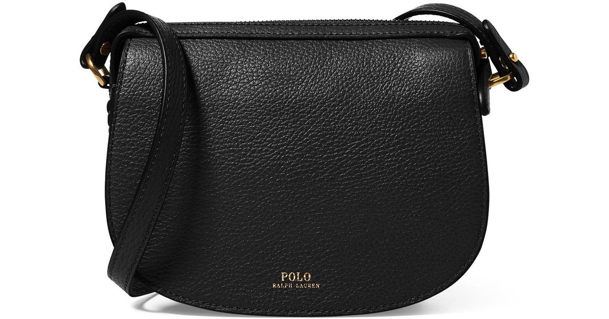 6ff5f3d776 Polo Ralph Lauren Leather Mini Crossbody Bag in Black - Lyst