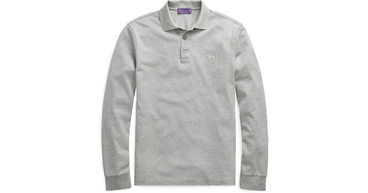 312eb4f0 ... reduced lyst ralph lauren purple label custom slim long sleeve polo in  gray for men 22ac7