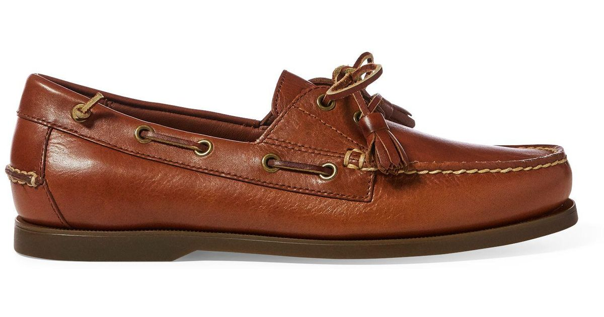 527f9b502d40 Polo Ralph Lauren Merton Leather Boat Shoe in Brown for Men - Lyst