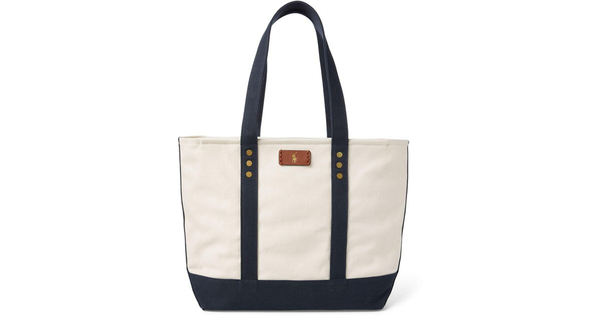 b39083d4f4 Lyst - Polo Ralph Lauren Canvas Tote Bag in Blue