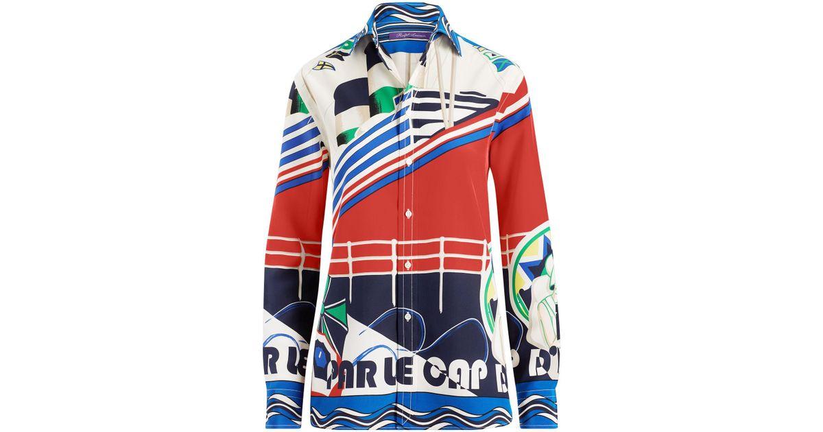 806466c5dfef5a Ralph Lauren Adrian Crepe De Chine Shirt - Lyst