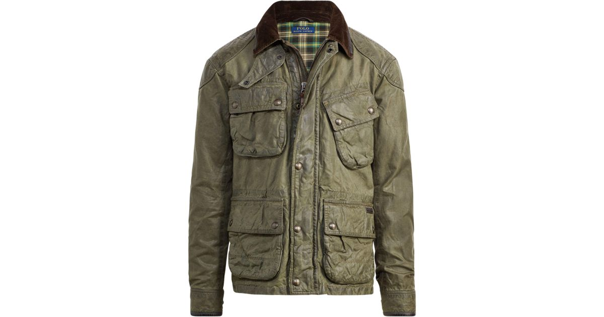 For Iconic Waxed Multicolor Biker Jacket Polo Ralph The Men Lauren rtsQdh