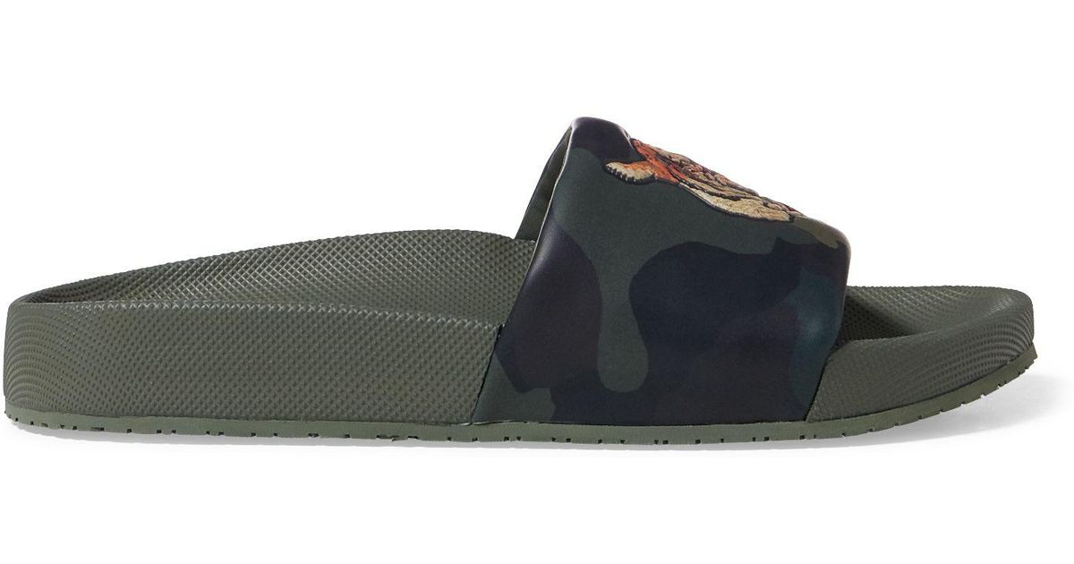 3100d9039bf6 Polo Ralph Lauren Cayson Camo Tiger Slide Sandal in Green - Lyst