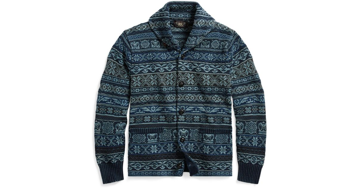 Lyst - Rrl Fair Isle Cotton Cardigan in Blue for Men