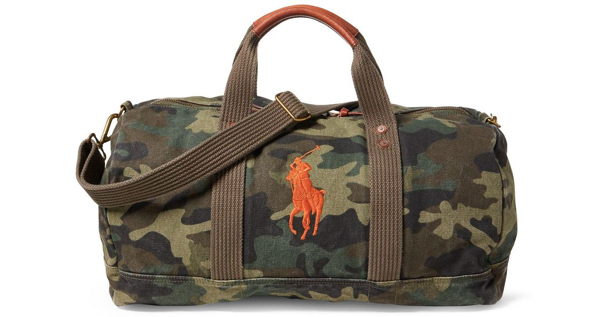 0b872b4a1e85 ... sweden polo ralph lauren camo canvas big pony duffel for men lyst 5a1b6  5eac4