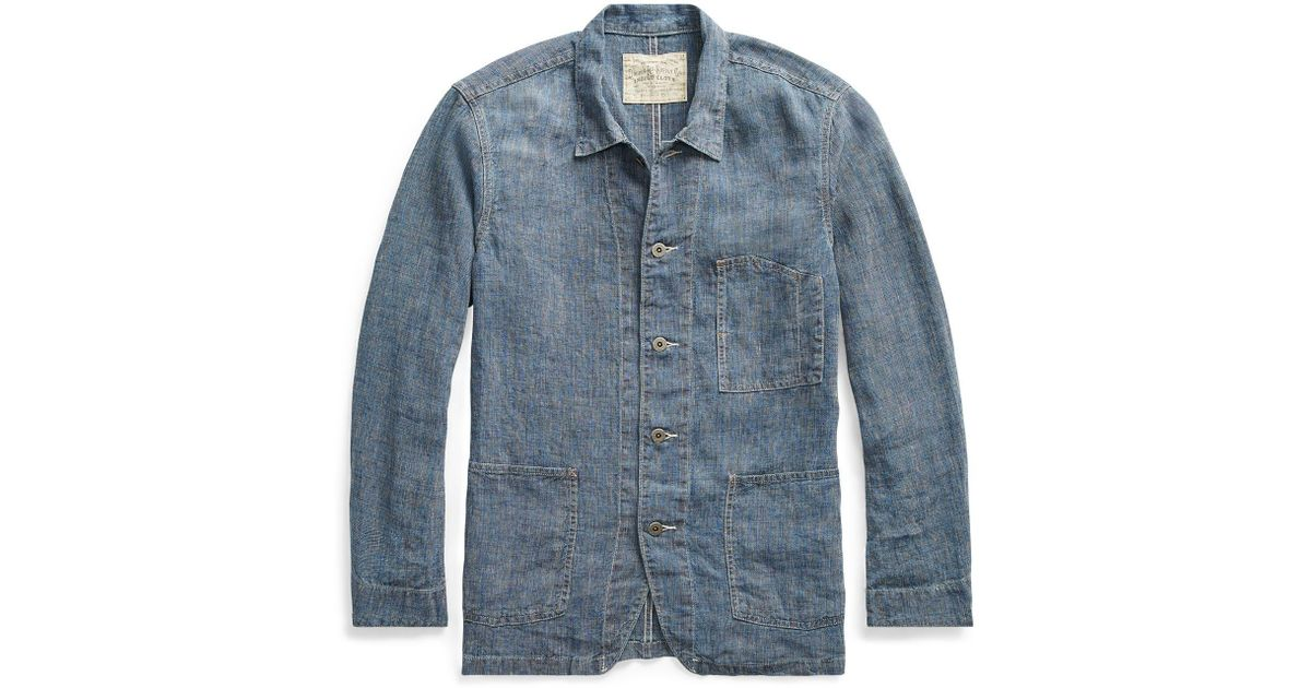 c68b4752a9 Lyst - RRL Indigo Linen Jacket in Blue for Men
