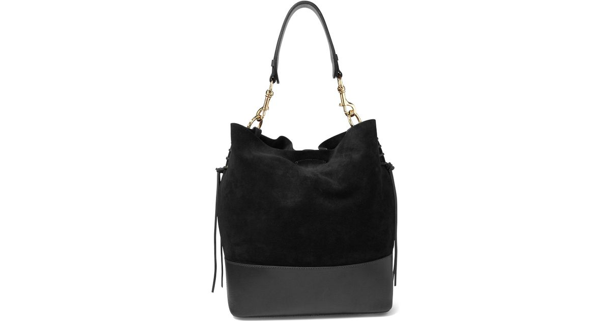 c1d16ff55b Lyst - Polo Ralph Lauren Suede Square Hobo Bag in Black
