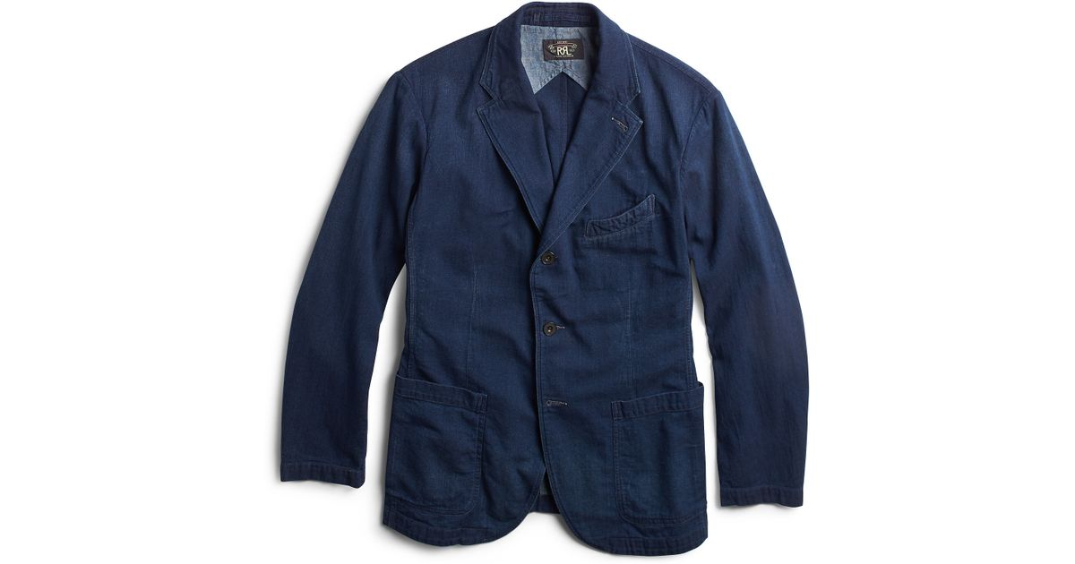 Rrl Indigo Cotton Sport Coat In Blue For Men Lyst