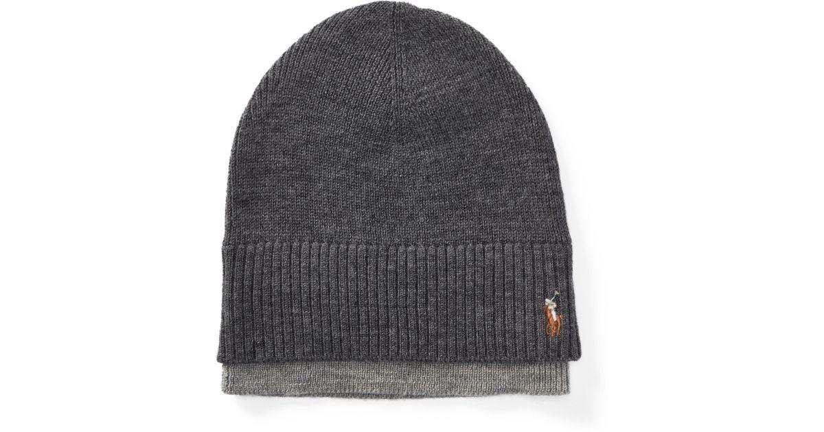 Lyst - Polo Ralph Lauren Layered Merino Wool Watch Cap in Gray for Men 20bd220bd72c