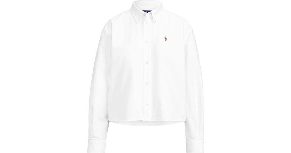 Lyst Shirt Cropped Lauren Smlqvgpuz White Oxford Polo Ralph DIYEW9H2