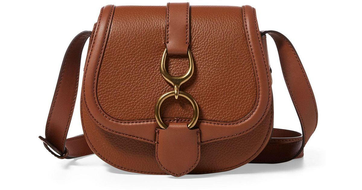 bb28b22477 ... discount ralph lauren leather small saddle bag in brown lyst 4596e 1a691