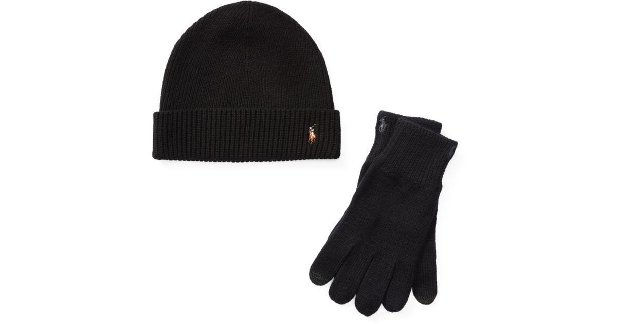 ed86bbae84cad Polo Ralph Lauren Merino Hat   Gloves Gift Set in Black for Men - Lyst