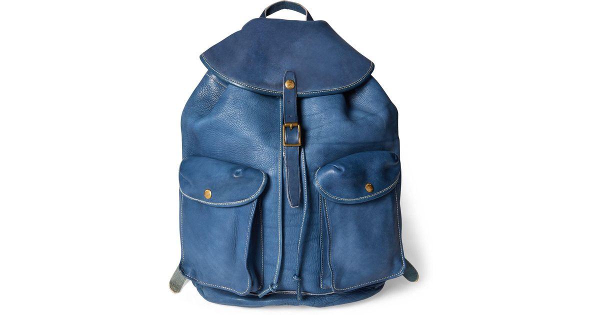 95ef6a24fc Lyst - RRL Indigo Leather Backpack in Blue for Men