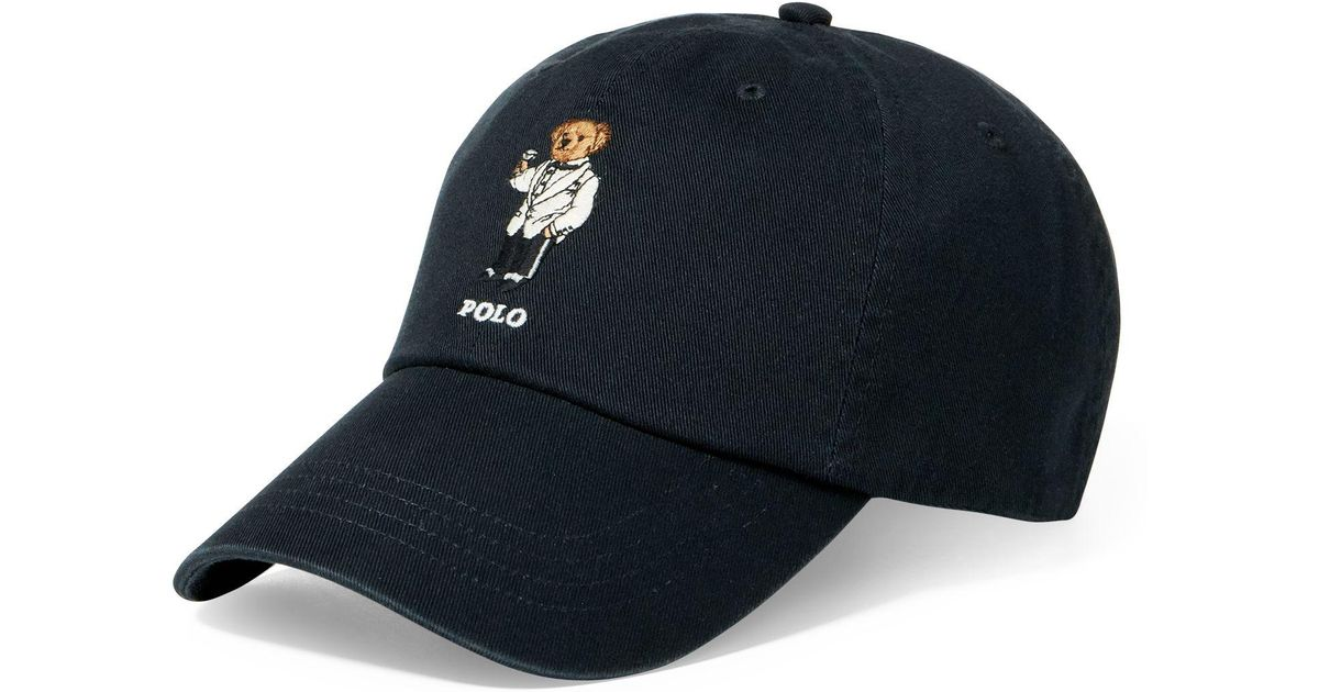 Polo Ralph Lauren Martini Polo Bear Chino Cap in Black for Men - Lyst a0936672c01