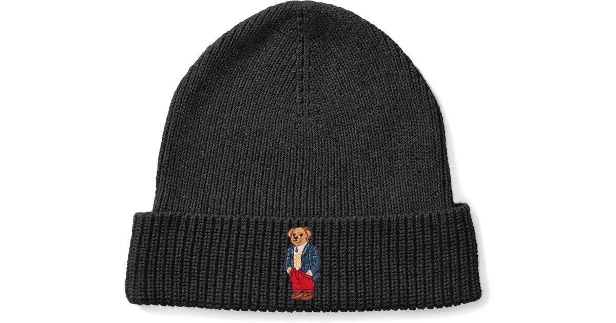 Lyst - Polo Ralph Lauren Tartan Polo Bear Ribbed Hat in Black for Men c287e6c26b12