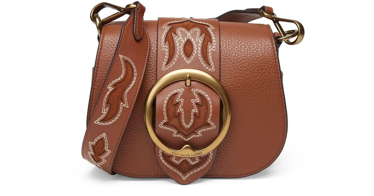 eeeb8f351dec Polo Ralph Lauren Western-stitch Lennox Bag in Brown - Lyst