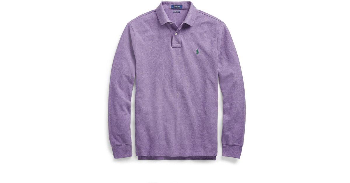 586f89db Polo Ralph Lauren Slim Fit Mesh Long-sleeve Polo in Purple for Men - Lyst