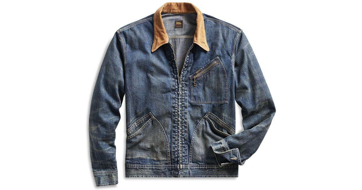 968556abca Lyst - RRL Corduroy-collar Denim Jacket in Blue for Men