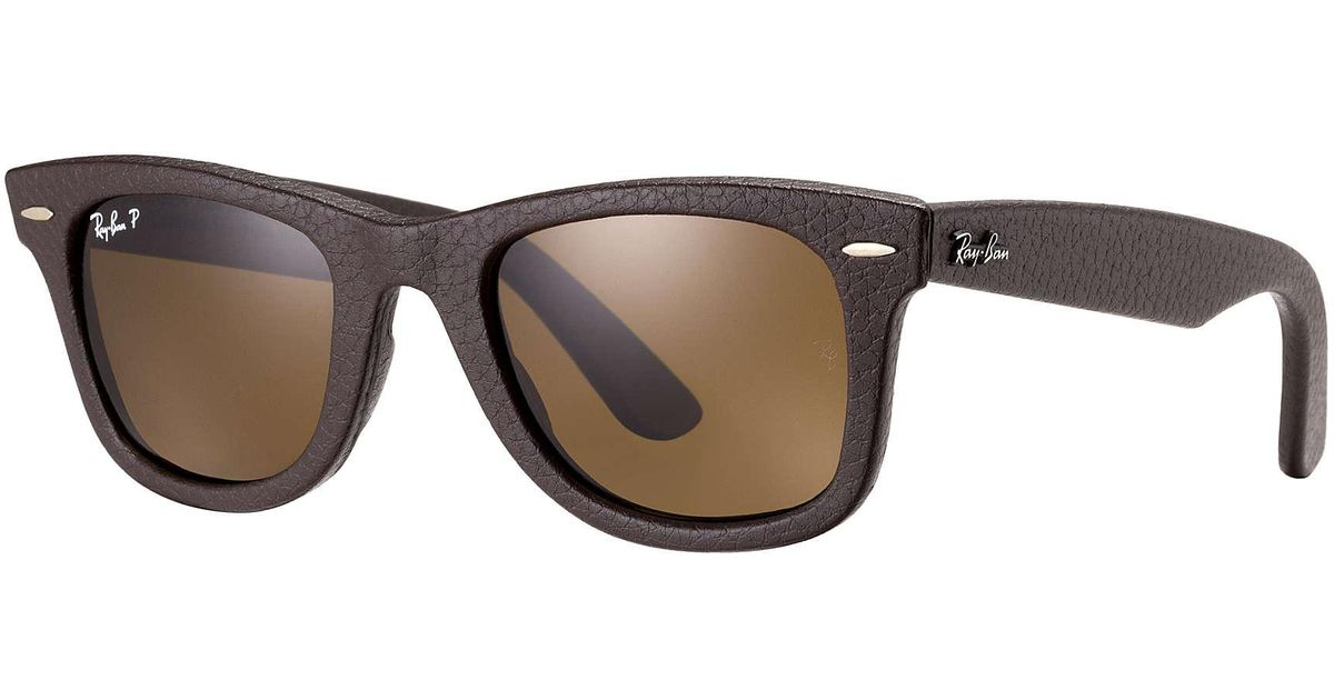 d7e969cfacf ... official ray ban wayfarer leather in brown for men lyst f28b9 0c835