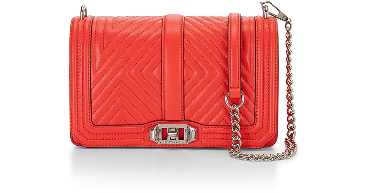 Rebecca Minkoff Geo Quilted Love Crossbody In Red Lyst