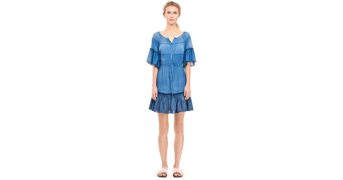 d8725f83d55c7 Lyst - Rebecca Taylor La Vie Patched Tissue Denim Shirtdress in Blue