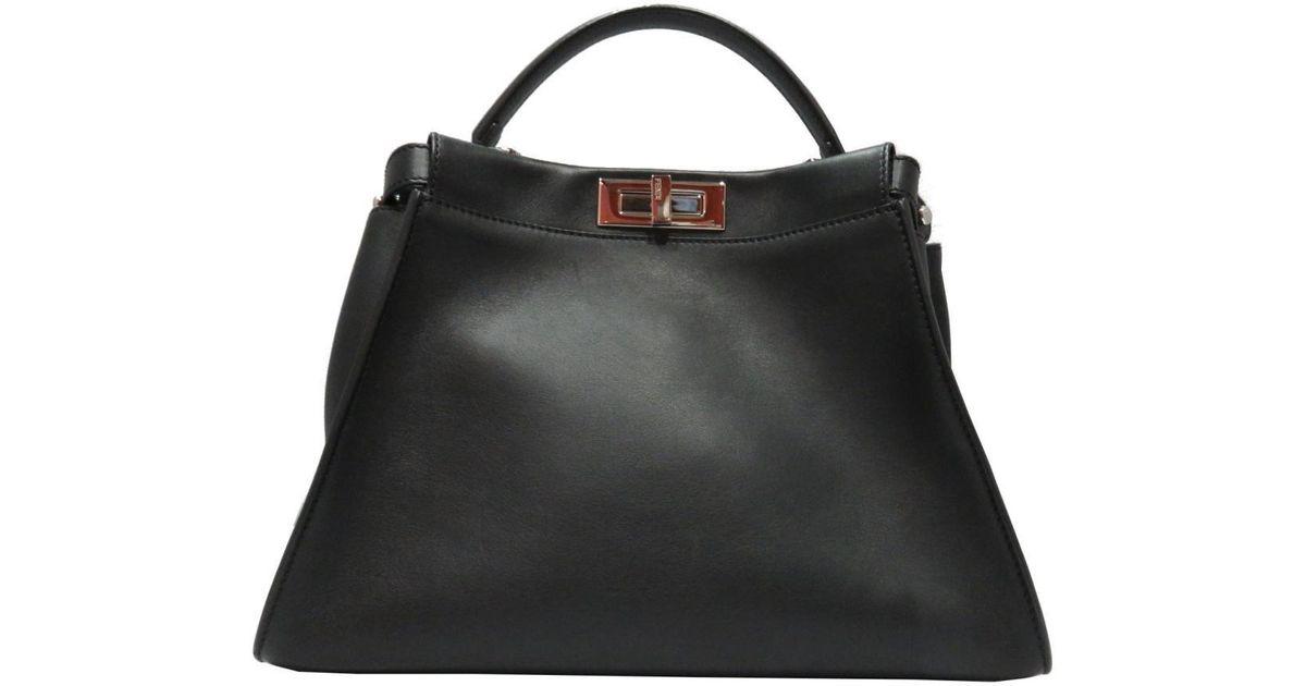 261f6bab7fa0 ... medium leather tote in red 2f576 db5ee  buy lyst fendi auth peekaboo  bugs 2 way bag 8bn290 black leather x python in black
