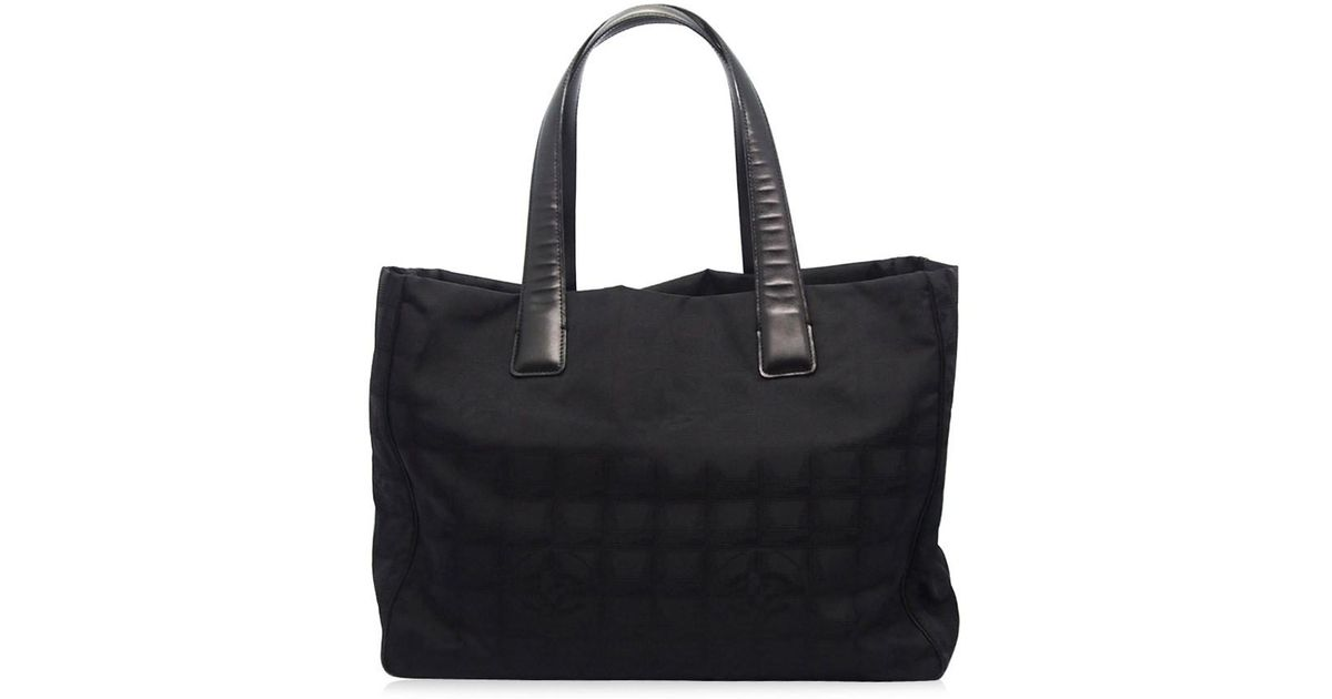 Lyst - Chanel Authentic Black Nylon Cc Logo Travel Line Shopper Tote Bag  17023542ck in Black a707ee1851023
