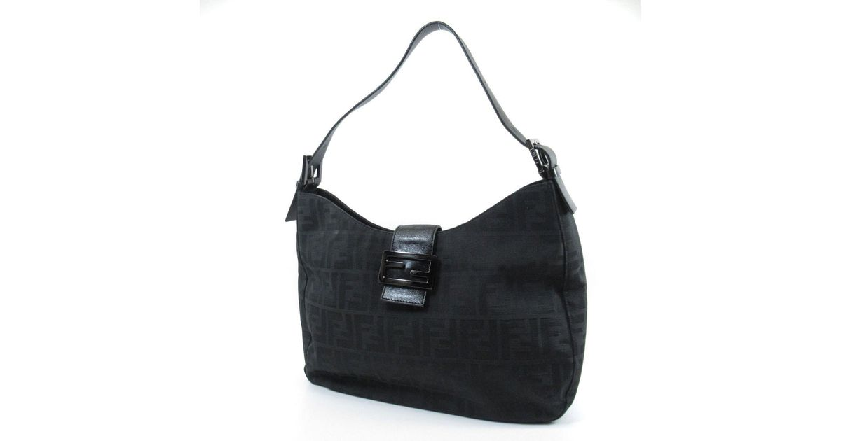 a0edbdcbf6 Lyst - Fendi Canvas Shoulder Bag Zucca in Black