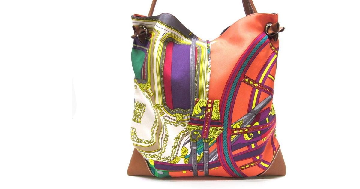 cab5ff533393 Lyst - Hermès Silky City Pm Shoulderbag Barenia Leather Silk Multicolor  Orange