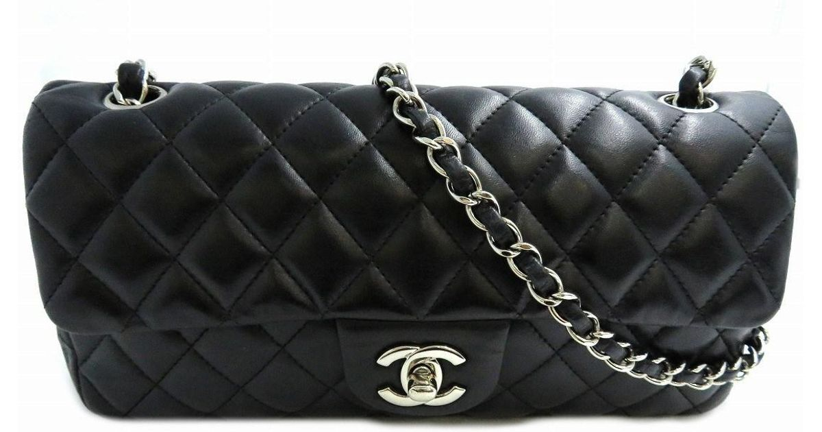 8b6ee28293b3 Chanel Classic Flap Medium Shoulder Flap Bag Lambskin Leather Black 6848 in  Black - Lyst