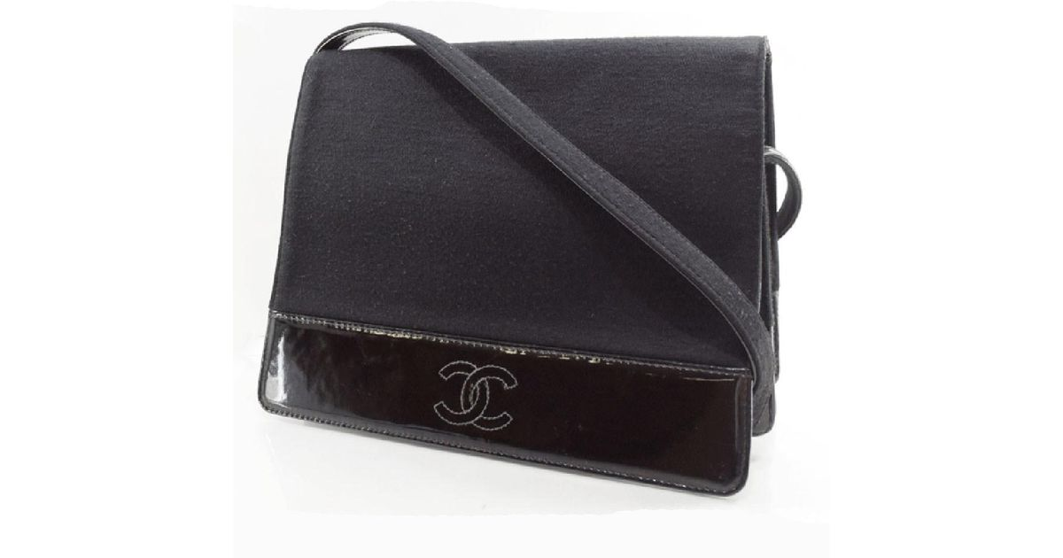 97cdfb09b9ac Lyst - Chanel Coco Mark Canvas×patent Leather Black Shoulder Bag Women in  Black