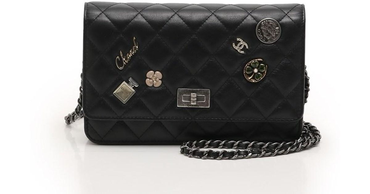 fecaf854aa5a Chanel Lucky Charms Matorasse Wallet Chain Wallet Icon Studded Vintage  Textured Leather Black Silver Hardware in Black - Lyst