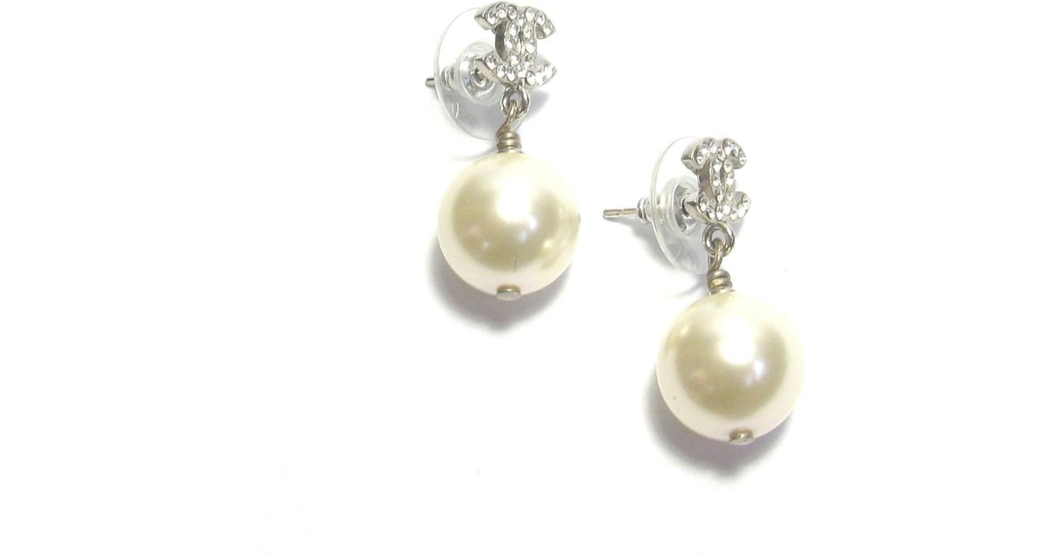 ced602c69 Chanel Cc Earring Studs In Rhinestone And Pearl ; in Metallic - Lyst